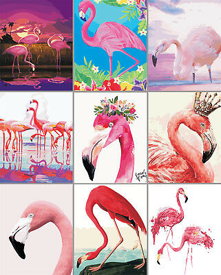 16x20'' Cool Flamingos Diy Paint By Number Kit Acrylic Painting Unframe Canvas