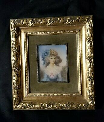 Antique French Miniature Portrait ,Hand Painted of 1780 Lovely Lady