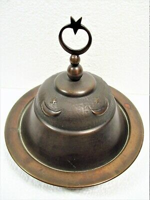 Antique Copper Covered Dish W/Crescent Moon & Star Hand Chased, Unknown Origin