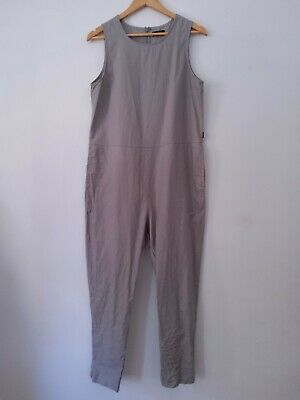 Byron Bay Label Thrills Grey Cotton Hemp Blend Sleeveless Jumpsuit Size 12