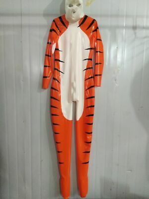 Latex 100% Rubber Gummi Kostüm Ganzanzug Tiger uniform Catsuit Bodysuit Suit