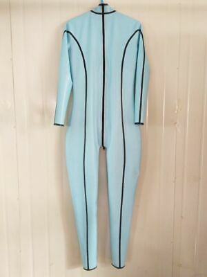 Latex 100% Rubber Gummi Kostüm Ganzanzug Light blue Catsuit Bodysuit 0.4mm Suit