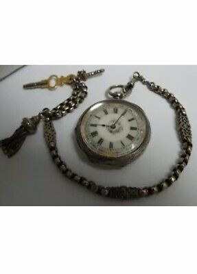 Victorian English Antique 1885 Solid Sterling Silver Pocket Watch Working