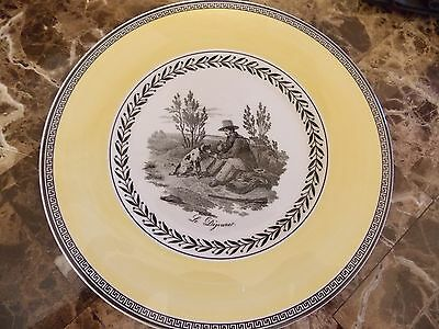 New Villeroy & Boch  Audun Chasse Yellow Black Set Of 4 Salad Plates