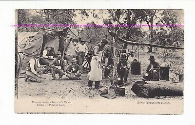 DROVER'S CAMP Pioneer workers & implements VINTAGE pc PU 1907 AUSTRALIA