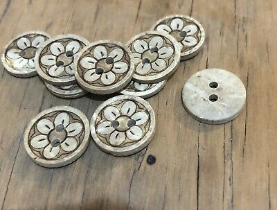 10 X 15mm Coconut Shell Buttons with Flower Imprint- Australian Supplier
