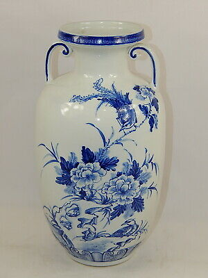 """Old Chinese Large Blue & White Porcelain Vase with cobalt painting h-13.78"""""""