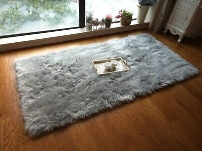 Sienna Large Shaggy Floor Rug Plain Soft Sparkle Area Mat 6cm Thick Pile Glitter