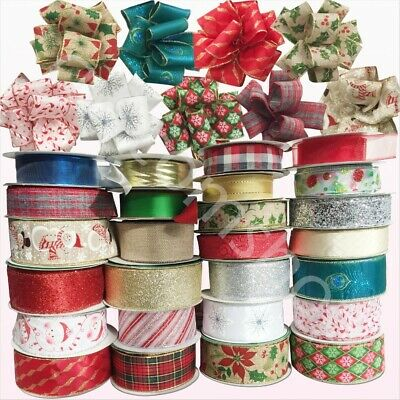 Wire Edged Ribbons Wired Christmas Gift Wrap Ribbon Craft Supplies Decor 38/63mm