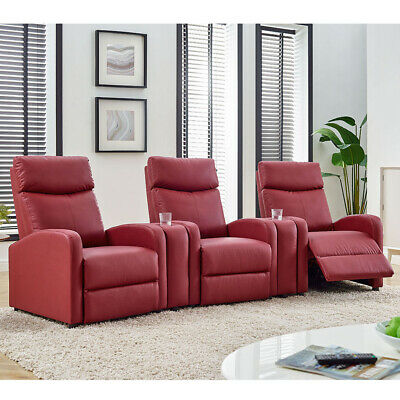 Push-Back Padded Chair Leisure Sofa Leather Home Theater Recliner Seating Red