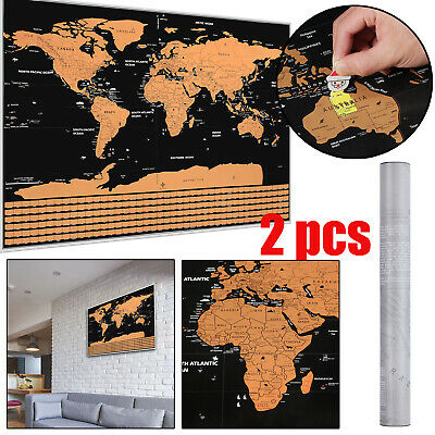 2x Deluxe Scratch World Map Scratch Off World Map Poster Map 82x 59cm  Classic
