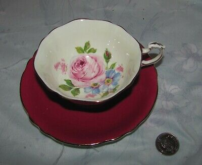 Vintage Paragon Red/Maroon Tea cup and Saucer with large Rose inside
