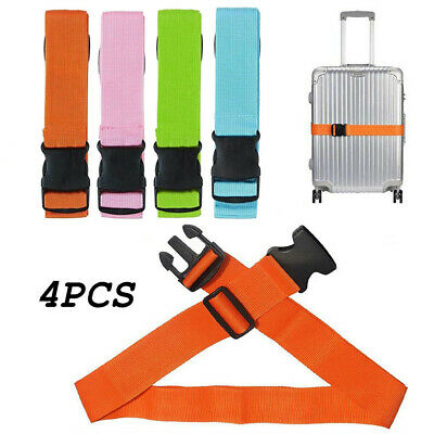 4x Adjustable Suitcase Luggage Baggage Straps Combination Belt Tie Down Travel