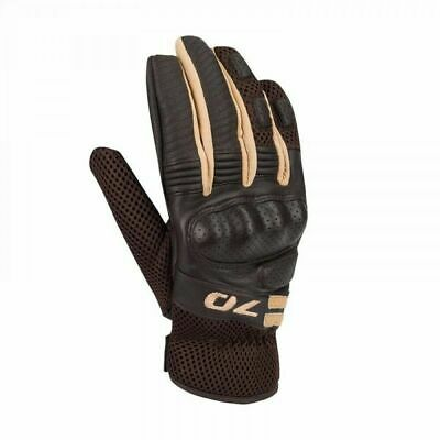 Segura Melbourne Leather Textile Motorcycle Motorbike Mens Gloves Brown Beige