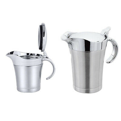 Kitchen Metal Stainless Steel Double Wall Insulated Gravy Boat Sauce Lidded Jug