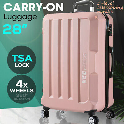 "Luggage TSA Hard Case Suitcase Travel Lightweight Trolley Carry on Bag 28"" Pink"