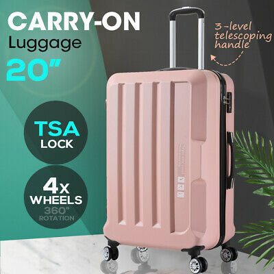 Luggage TSA Hard Case Suitcase Travel Lightweight Trolley Carry on Bag Pink 20""