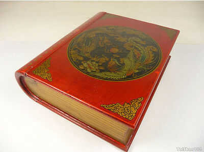 Chinese Red Wood Hand Painted Dragon Phoenix Fire Ball Flower Book Jewelry Box