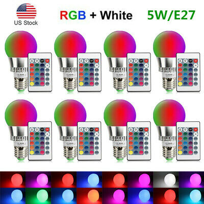 E26 E27 5W RGB LED Light Bulb Multi Color Change Magic Lamp With Remote Control
