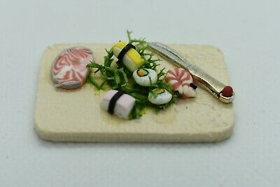 Dolls House Food. Sushi on a Wooden Board Handmade. 12th Scale. New