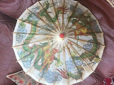 Perfectly working small Chinese paper & wood parasol. 2 hand painted dragons 25""