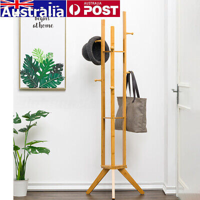 Clothes Coat Hat Rack Stand Jacket Bag Shelf Wooden Bamboo Hanger Hook Organizer