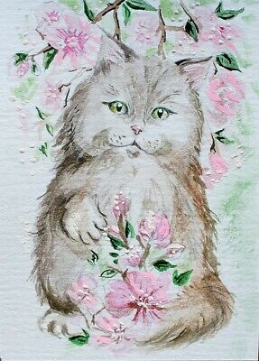 ACEO Original painting Cat in the branches of Sakura Watercolor Art Miniature