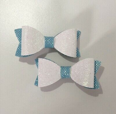 Set Of Two Frozen Colour Sparkly Hair Bows. White & Blue. Clip In Bow Girls Guft