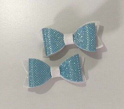 Set Of Two Sparkly Blue And White Clip In Girls Hair Bows. Looks Like Frozen!