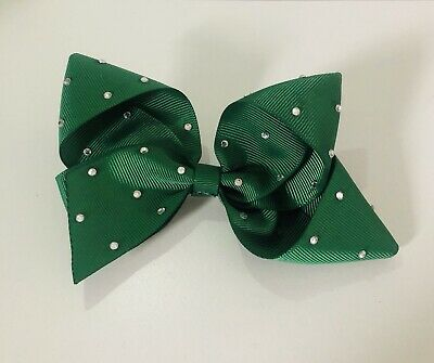 """Forest Green Hair Bow - 5"""" - Handmade With Gems - Sparkly Fashion School Clip In"""