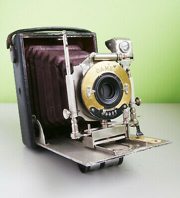 Butcher's (?) Red Bellows Folding Plate Camera with Cameo Lens c1910 Spares