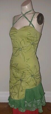ANNIE Vintage retro lime green fairy ruffle trim embroidery floral 60s 70s 6 8