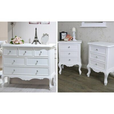 White bedroom furniture set large chest of drawers pair bedside tables French