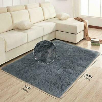 Modern Super Soft Charcoal Grey Fur Silky Non Shed Thick Shaggy Rug 120 x 170 cm