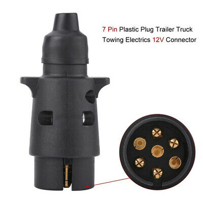 Plastic 7Pin 12V Trailer Plug Socket Wiring Connector Adapter Black Towing VQ ^S