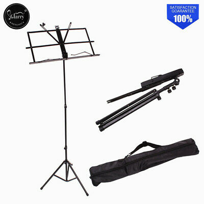 Glarry Musician's Gear Heavy-Duty Folding Adjustable Music Stand Black With Bag