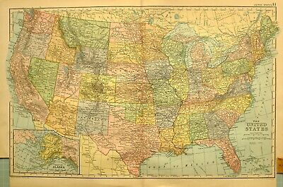 1894 Map United States Texas Kentucky Missouri Florida Montana Oregon Nevada