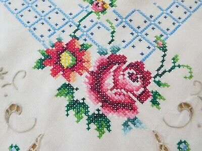 Vintage Embroidered Colorful Roses Cross Stitch Tablecloth Topper HANDMADE 48x49