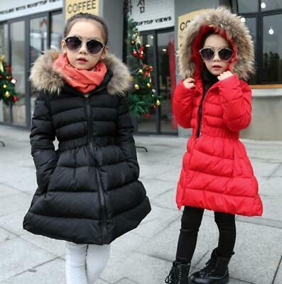 Kids Girls Winter Fur Hooded Cotton Padded Puffer Jacket Coat Parka Outwear Xmas