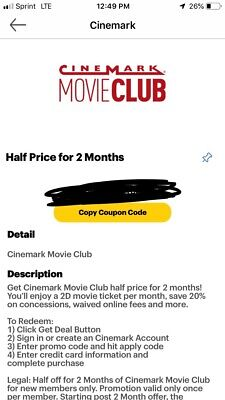 Cinemark Movie Club Half Price For 2 Months Code Coupon