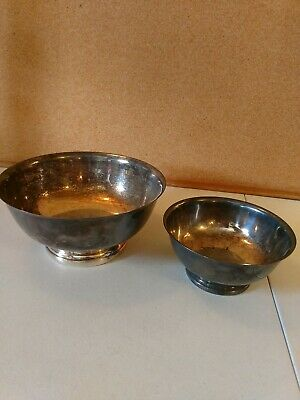 """Vintage Gorham Paul Revere Silver Plated Footed Bowls 9"""" 6 1/2"""""""