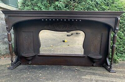 LARGE Antique Carved Victorian Eastlake Style Pier Mirror Wood Pediment Mantel