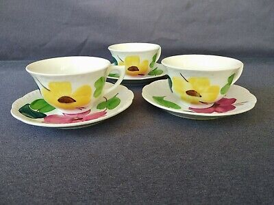 Vintage Heritage Ware by Stetson Hand Painted Floral Tea Cups & Saucers Set of 3