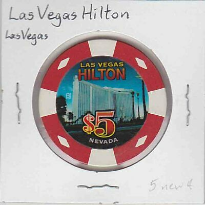 Vintage $5 chip from the Las Vegas Hilton Casino, Las Vegas