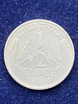 India 1/2 Rupee 1954 Coat Of Arms Km#6 Very Rare World Coin