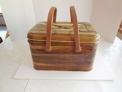 "Metal Tin ""Picnic Basket"" Bread Box With Hinged Lid Retro Shabby Chic"