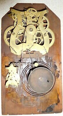 """Antique Lyre Shaped """"Round Band"""" Seth Thomas Clock Movement W/Alarm, Coil, Bell"""