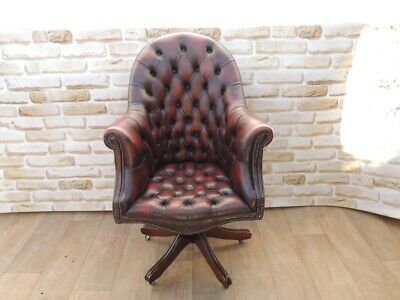 Terrific Chesterfield Directors Large Quality Ox Blood Leather Swivel Squirreltailoven Fun Painted Chair Ideas Images Squirreltailovenorg