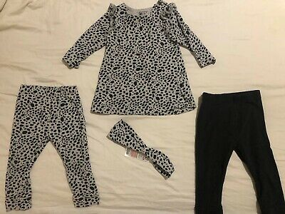 4 Piece My K Myleene Klass Black Lepord Legging Dress Set Aged 6-month