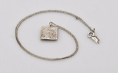 Authentic Tiffany & Co Women's Sterling Silver Notes Square Pendant Necklace 15""